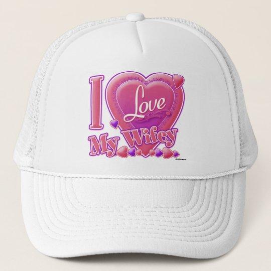 I Love My Wifey pink/purple - heart Trucker Hat