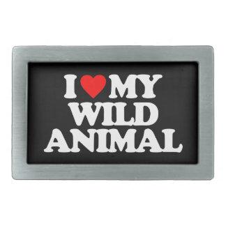 I LOVE MY WILD ANIMAL RECTANGULAR BELT BUCKLES