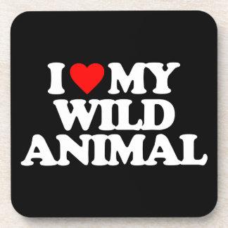 I LOVE MY WILD ANIMAL BEVERAGE COASTER
