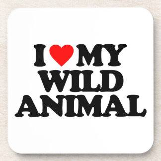 I LOVE MY WILD ANIMAL DRINK COASTERS