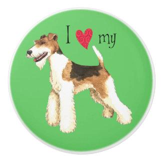 I Love my Wire Fox Terrier Ceramic Knob