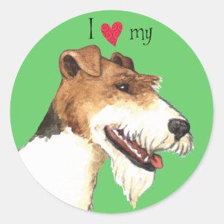 I Love my Wire Fox Terrier Classic Round Sticker