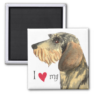 I Love my Wirehaired Dachshund 2 Inch Square Magnet
