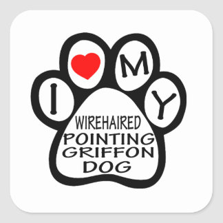 I Love My Wirehaired Pointing Griffon Dog Square Sticker