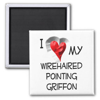 I Love My Wirehaired Pointing Griffon 2 Inch Square Magnet