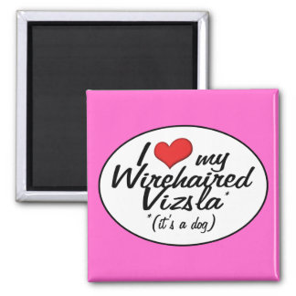 I Love My Wirehaired Vizsla (It's a Dog) 2 Inch Square Magnet