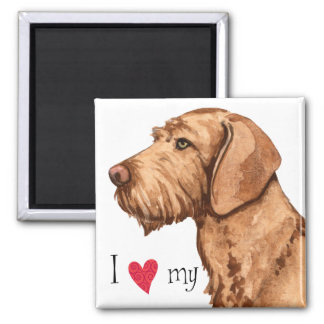 I Love my Wirehaired Vizsla 2 Inch Square Magnet