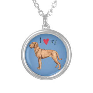 I Love my Wirehaired Vizsla Silver Plated Necklace