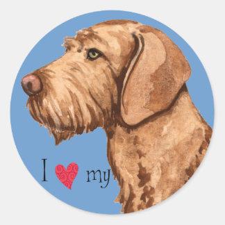 I Love my Wirehaired Vizsla Classic Round Sticker