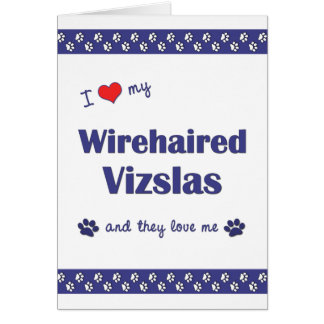 I Love My Wirehaired Vizslas Multiple Dogs Greeting Card