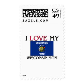 I Love My Wisconsin Mom Postage Stamp