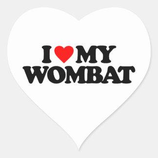 I LOVE MY WOMBAT HEART STICKER