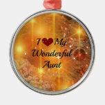 I Love My Wonderful Aunt - Christmas Golden Glow Round Metal Christmas Ornament