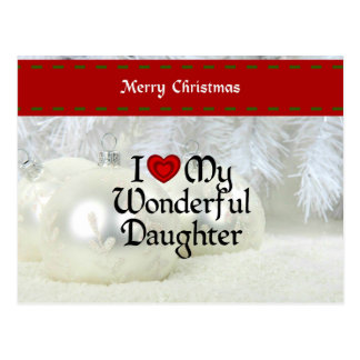 I Love My Wonderful Daughter, Christmas Design Postcard