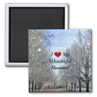 I Love My Wonderful Husband - Snowy Winter Day 2 Inch Square Magnet