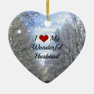 I Love My Wonderful Husband - Snowy Winter Day Double-Sided Heart Ceramic Christmas Ornament
