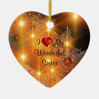 I Love My Wonderful Sister Double-Sided Heart Ceramic Christmas Ornament