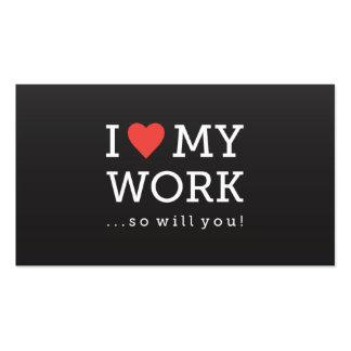 I Love My Work Business Card Black