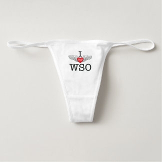 I Love My WSO with red heart wings custom name Thong