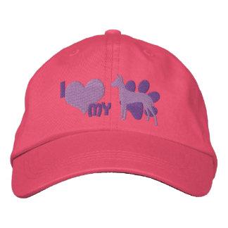 I Love my Xoloitzcuintli Embroidered Hat Purple