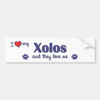 I Love My Xolos (Multiple Dogs) Bumper Sticker