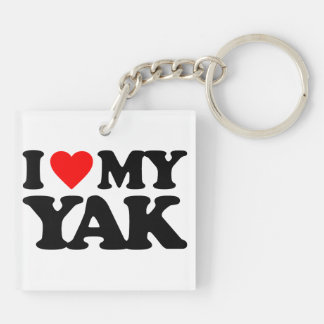 I LOVE MY YAK Double-Sided SQUARE ACRYLIC KEYCHAIN