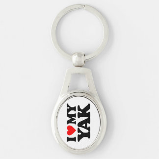 I LOVE MY YAK Silver-Colored OVAL METAL KEYCHAIN