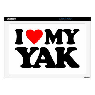 "I LOVE MY YAK DECALS FOR 17"" LAPTOPS"