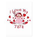 I love My YaYa Rag Doll & Hearts Postcard