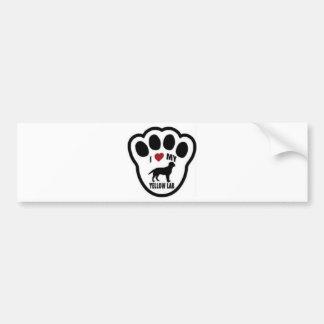 I Love My Yellow Lab - with dog paw print Bumper Sticker
