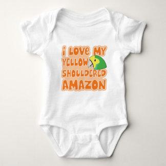 I Love My Yellow Shouldered Amazon Baby Creeper
