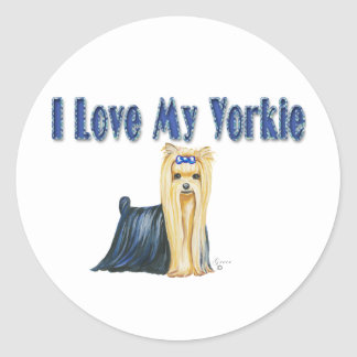 I Love My Yorkie Art Dog Print Classic Round Sticker