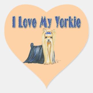 I Love My Yorkie Art Dog Print Heart Sticker