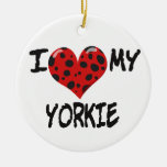 I Love My Yorkie Christmas Tree Ornament