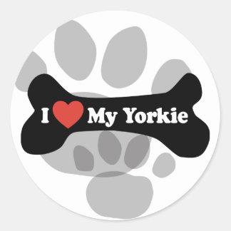 I Love My Yorkie - Dog Bone Classic Round Sticker