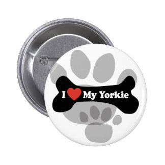 I Love My Yorkie - Dog Bone Pinback Button