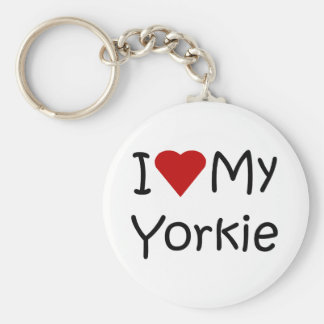 I Love My Yorkie Dog Breed Lover Apparel and Gifts Basic Round Button Keychain