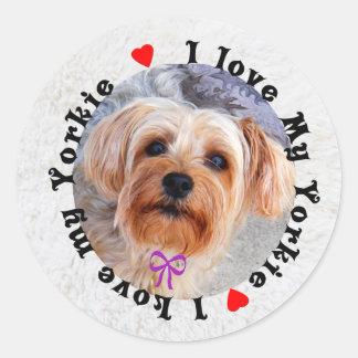 I love my Yorkie Female Yorkshire Terrier Dog Classic Round Sticker
