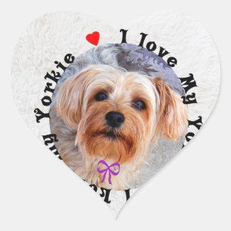 I love my Yorkie Female Yorkshire Terrier Dog Heart Sticker