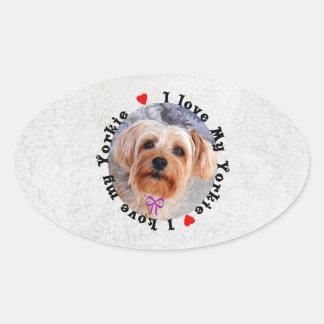 I love my Yorkie Female Yorkshire Terrier Dog Oval Sticker