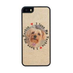 Carved iPhone 5/5S Slim Wood Case with Yorkshire Terrier Phone Cases design