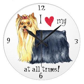 I Love my Yorkie Large Clock