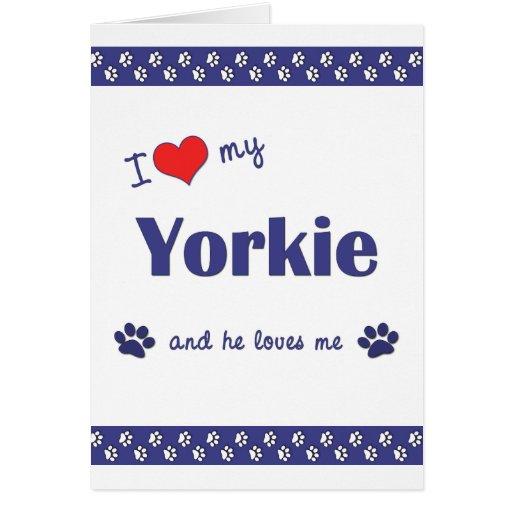 I Love My Yorkie (Male Dog) Cards