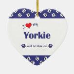 I Love My Yorkie (Male Dog) Christmas Ornaments