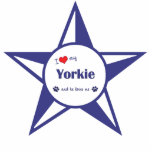 I Love My Yorkie (Male Dog) Photo Sculptures