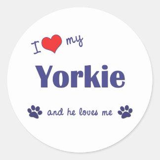 I Love My Yorkie (Male Dog) Round Stickers