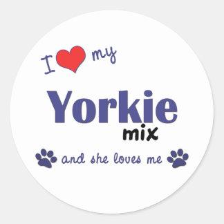 I Love My Yorkie Mix (Female Dog) Round Stickers