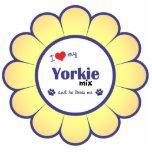 I Love My Yorkie Mix (Male Dog) Photo Sculpture Ornament