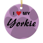 I Love My Yorkie Pawprint Ceramic Ornament