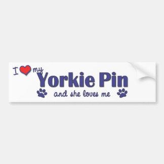 I Love My Yorkie Pin (Female Dog) Bumper Stickers